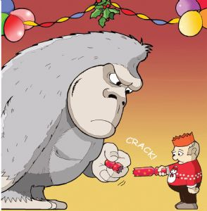 Merry Christmas Card with Gorilla and Cracker - Xmas Card - Funny Christmas Card - Funny Xmas Card